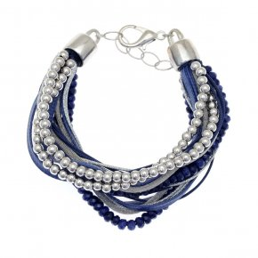 Cord Bracelet out of metal with synthetic stones - Amazona