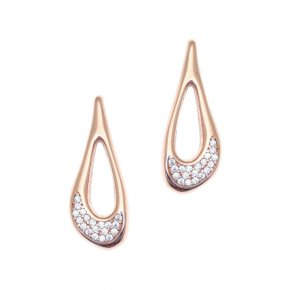 Earrings in silver 925 pink gold plated with white zirconia - Eva