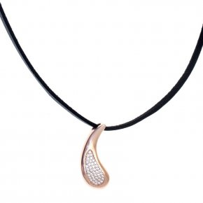 Necklace in silver 925 pink gold plated with white zirconia - Eva