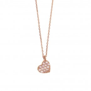 Necklace in pink gold 14 carats with white zirconia - ETERNAL