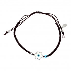 Cord Bracelet in silver 925, rhodium plated with an eye outof enamel - Charisma