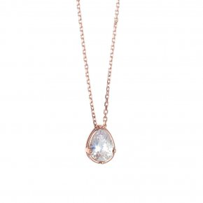 Necklace in silver 925 pink gold plated fresh water pearl - Chromata