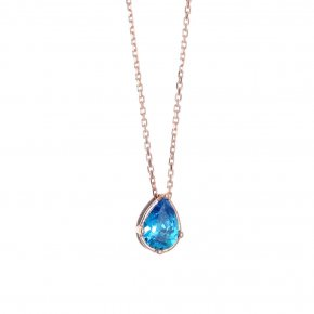 Necklace in silver 925 pink gold plated with light blue zirconia - Chromata