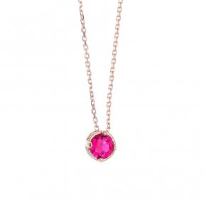 Necklace in silver 925 pink gold plated with red zirconia - Chromata