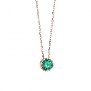 Necklace in silver 925 pink gold plated with green zirconia - Chromata