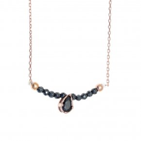 Necklace in silver 925, pink gold plated with hematite andblack spinel - Chromata