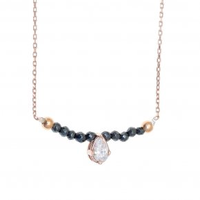 Necklace in silver 925 pink gold plated with hematite and turquoise spinel - Chromata