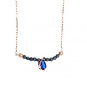 Necklace in silver 925, pink gold plated with hematite andlight blue spinel - Chromata