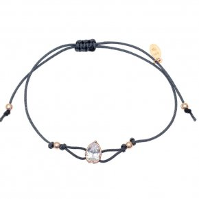 Cord Bracelet in silver 925, pink gold plated with white zirconia - Chromata