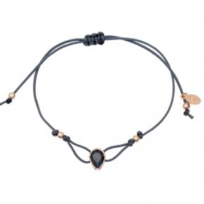 Cord Bracelet in silver 925, pink gold plated with blackspinel - Chromata
