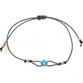 Cord Bracelet in silver 925, pink gold plated with light bluezirconia - Chromata