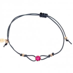 Cord Bracelet in silver 925 pink gold plated with red zirconia - Chromata