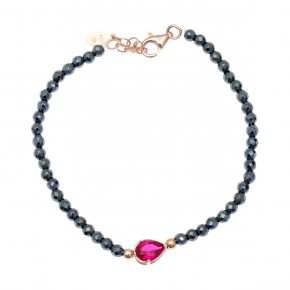 Bracelet in silver 925 pink gold plated with hematite and red zirconia - Chromata