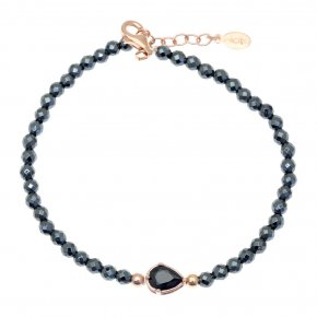Bracelet in silver 925 pink gold plated with hematite and black spinel - Chromata