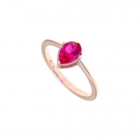 Ring Silver 925, pink gold plated with red zirconia - Chromata
