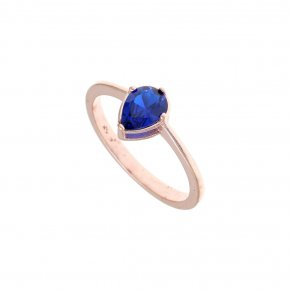 Ring Silver 925 pink gold plated with turquoise zirconia - Chromata