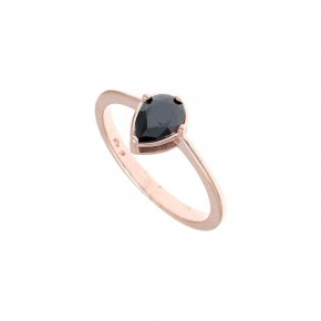 Ring Silver 925, pink gold plated with white zirconia - Chromata