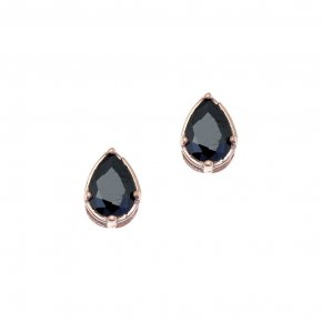 Earrings in silver 925 pink gold plated with black spinel - Chromata