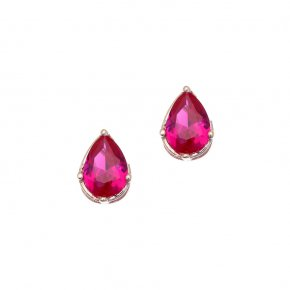 Earrings in silver 925, pink gold plated with redzirconia - Chromata