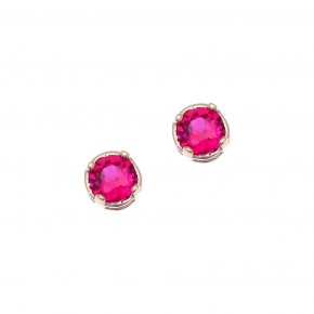 Earrings in silver 925 pink gold plated with red zirconia - Chromata