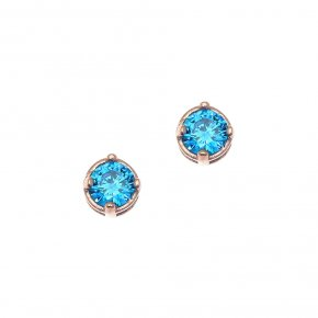 Earrings in silver 925 pink gold plated with light blue zirconia - Chromata