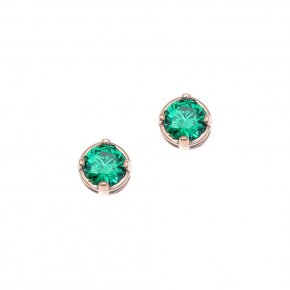 Earrings in silver 925 pink gold plated with green zirconia - Chromata