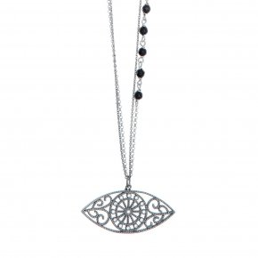 Necklace in silver 925 rhodium plated with onyx and white zirconia - Pathos
