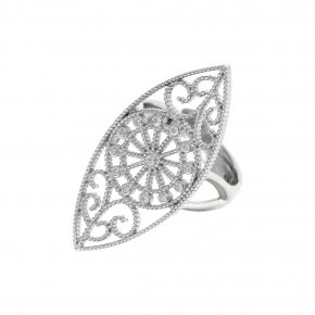 Ring Silver 925 rhodium plated with white zirconia - Pathos