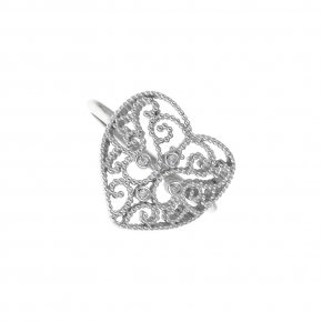 Ring Silver 925, rhodium plated with white zirconia - Pathos