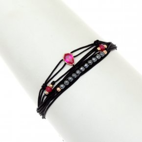Cord Bracelet in silver 925, pink gold plated withhematite - Aegis