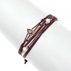 Cord Bracelet in silver 925, pink gold plated withcrystals - Aegis