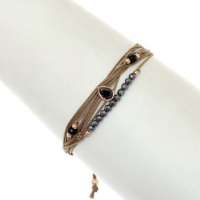 Cord Bracelet in silver 925 pink gold plated with hematite - Aegis