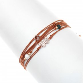 Cord Bracelet in in silver 925, pink gold plated with white zirconia - Aegis