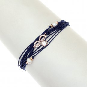 Cord Bracelet in silver 925, pink gold plated with white zirconia - Aegis