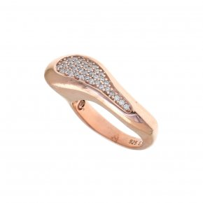 Ring Silver 925 pink gold plated with white zirconia - Eva