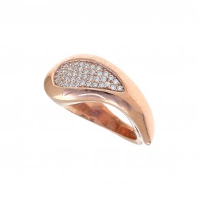 Ring Silver 925, pink gold plated with white zirconia - Eva