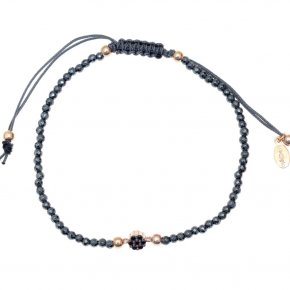 Bracelet in silver 925 pink gold plated with black spinel - Mitos