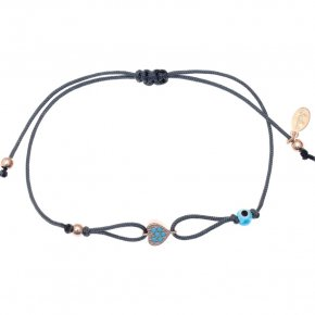 Cord Bracelet in silver 925 pink gold plated with turquoise zirconia - Mitos