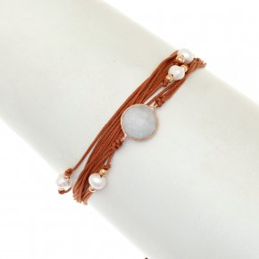 Cord Bracelet in silver 925, pink gold plated withmoonstone - Aegis