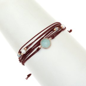 Cord Bracelet in silver 925 pink gold plated with amazonite - Aegis