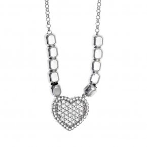 Necklace in silver 925 rhodium plated with white zirconia - Artemis