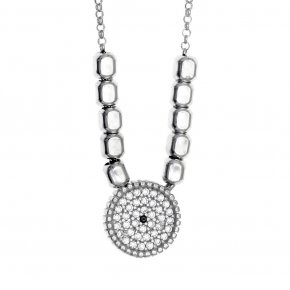 Necklace in silver 925, rhodium plated with white zirconia - Artemis