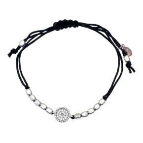 Cord Bracelet in silver 925, rhodium plated with white zirconia - Artemis