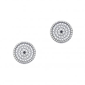 Earrings in silver 925 rhodium plated with white zirconia - Artemis