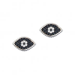 Earrings in silver 925, rhodium plated with white zirconia - Artemis