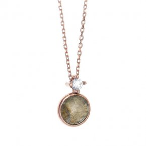 Necklace in silver 925, pink gold plated with labradorite andwhite zirconia - Petra