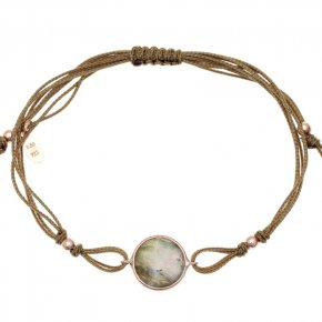 Cord Bracelet in silver 925, pink gold plated withlabradorite - Petra