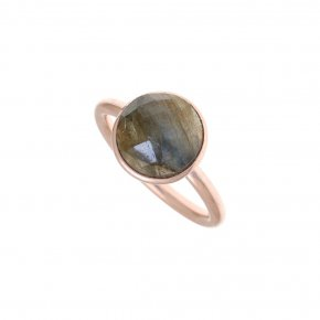 Ring Silver 925 pink gold plated with labradorite - Petra