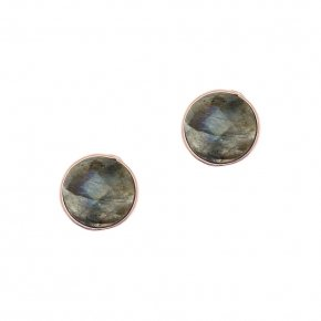Earrings Silver 925 pink gold plated with labradorite - Petra