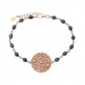 Bracelet in silver 925, pink gold plated withhematite - Daphne